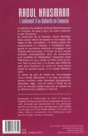 Raoul Hausmann. L'Isolement D'Un Dadaiste En Limousin - 4ème de couverture - Format classique