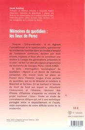 Memoires Du Quotidien : Les Lieux De Perec - 4ème de couverture - Format classique