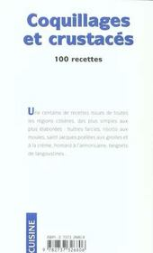 Coquillages Et Crustaces, 100 Recettes - 4ème de couverture - Format classique