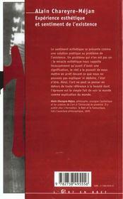 Experience Esthetique Et Sentiment De L'Existence - 4ème de couverture - Format classique