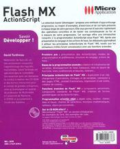 Flash Mx Actionscript ; Developpez - 4ème de couverture - Format classique