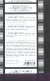 Lexique Subjectif D'Emir Kusturica (Le) - 4ème de couverture - Format classique
