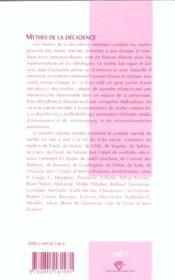 Mythes de la decadence - 4ème de couverture - Format classique