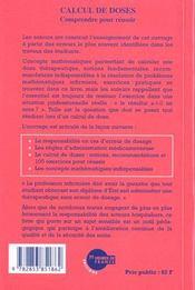 Calcul De Doses Comprendre Pour Reussir - 4ème de couverture - Format classique