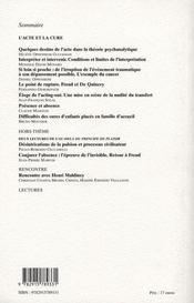 Les Lettres De La Societe De Psychanalyse Freudienne T.18; L'Acte Et La Curee - 4ème de couverture - Format classique