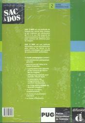 Sac A Dos Niveau 2 ; Guide Pedagogique - 4ème de couverture - Format classique