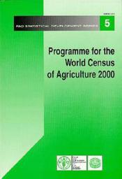 Programme for the world census of agriculture 2000 ; fao statistical development series n.5 - Couverture - Format classique