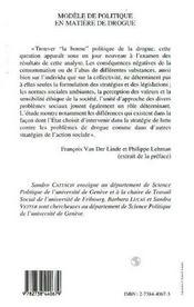 Modeles De Politique En Matiere De Drogue - 4ème de couverture - Format classique