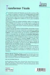 Transformer L'Ecole - 4ème de couverture - Format classique