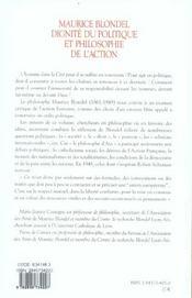 Maurice blondel. dignite du politique - 4ème de couverture - Format classique