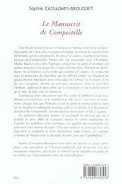 Le manuscrit de compostelle - 4ème de couverture - Format classique