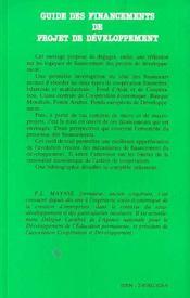 Guide Des Financements De Projet De Developpement - 4ème de couverture - Format classique