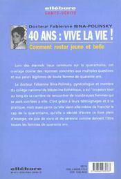 40 Ans. Vive La Vie ! Rester Jeune Et Belle - 4ème de couverture - Format classique