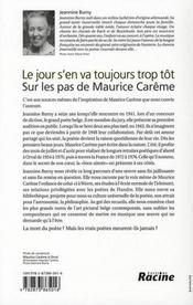 Le jour s'en va toujours trop tôt ; sur les pas de Maurice Carême - 4ème de couverture - Format classique