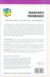 Transferts thermiques - 4ème de couverture - Format classique