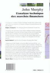 L'Analyse Technique Des Marches Financiers - 4ème de couverture - Format classique
