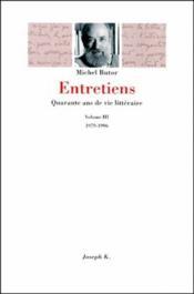 Entretiens T.3 ; 1979-1996 - Couverture - Format classique