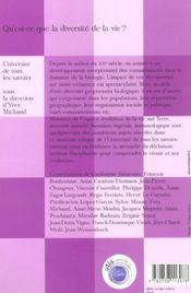 Qu'Est-Ce Que La Diversite De La Vie ? - 4ème de couverture - Format classique