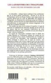 Les Labyrinthes De L'Imaginaire Dans L'Oeuvre De Roger Caillois - 4ème de couverture - Format classique