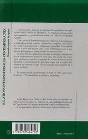 Relations Internationales Contemporaines ; Un Monde En Perte De Reperes - 4ème de couverture - Format classique