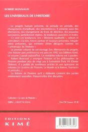 Universaux de l'histoire (les) - 4ème de couverture - Format classique