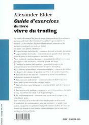 Guide D'Exercices Du Livre Vivre Du Trading - 4ème de couverture - Format classique