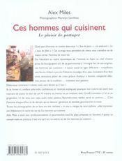 Ces Hommes Qui Cuisinent ; Le Plaisir De Partager - 4ème de couverture - Format classique