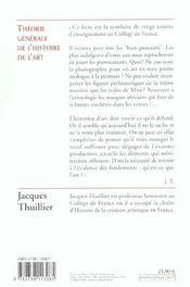 Theorie Generale De L'Histoire De L'Art - 4ème de couverture - Format classique