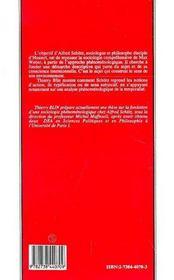 Phenomenologie Et Sociologie Comprehensive.Sur Alfred Schutz - 4ème de couverture - Format classique