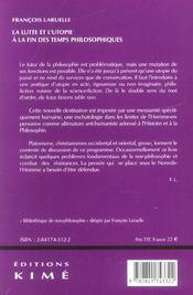 Lutte Et L'Utopie A La Fin Des Temps Philosophiques (La - 4ème de couverture - Format classique