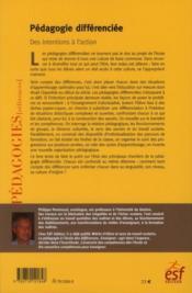 Pédagogie différenciée ; des intentions à l'action - 4ème de couverture - Format classique