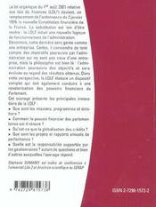 La Loi Organique Du 1er Aout 2001 Relative Aux Lois De Finances - 4ème de couverture - Format classique