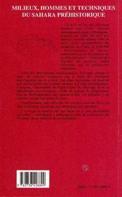 Milieux, Hommes Et Techniques Du Sahara Prehistorique - 4ème de couverture - Format classique