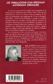 Les Tribulations D'Un Resistantauvergnat Ordinaire - 4ème de couverture - Format classique