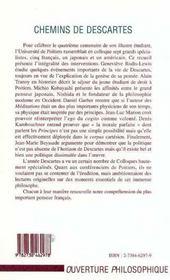 Chemins De Descartes - 4ème de couverture - Format classique