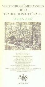 Vingt-Troisiemes Assises De La Traduction Litteraire - Intérieur - Format classique