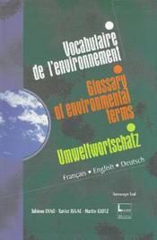 Vocabulaire De L'Environnement (Francais, Anglais, Allemand) - Couverture - Format classique