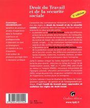 Zoom'S Droit Du Travail Et Securite Sociale - 4ème de couverture - Format classique