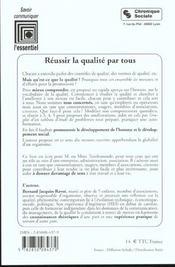 Reussir La Qualite Par Tous - 4ème de couverture - Format classique