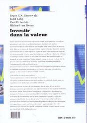 Investir Dans La Valeur. De Benjamin Graham A Warren Buffett Et Au-Dela - 4ème de couverture - Format classique