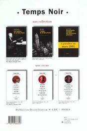 Revue Temps Noir N4 - 4ème de couverture - Format classique
