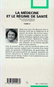 La Medecine Et Le Regime De Sante T.2 - 4ème de couverture - Format classique