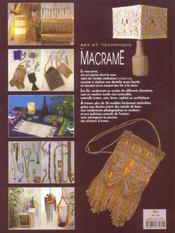 Art et technique du macramé - 4ème de couverture - Format classique