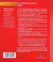 Fiscalite Francaise 2002 - 4ème de couverture - Format classique
