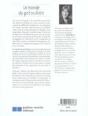 Le Monde Du Prescolaire - 4ème de couverture - Format classique