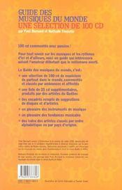 Guide Des Musiques Du Monde ; Une Selection De 100 Cd - 4ème de couverture - Format classique