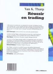 Reussir En Trading - 4ème de couverture - Format classique
