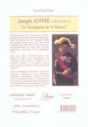 Joseph Joffre (1852-1931) ; le vainqueur de la Marne - 4ème de couverture - Format classique