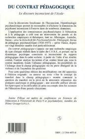 Du Contrat Pedagogique ; Le Discours Inconscient De L'Ecole - 4ème de couverture - Format classique