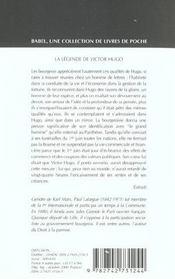 La legende de victor hugo babel 480 - 4ème de couverture - Format classique